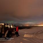 Aurora Borealis and night sky at Kjalarnes, Reykjavík, Iceland.
